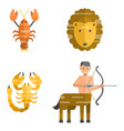 zodiac signs flat set horoscope symbols star vector image vector image
