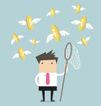 Businessman catch flying coins vector image