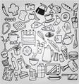 kitchen doodles collection set vector image