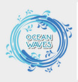 ocean waves in circle shapes design vector image