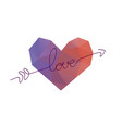 arrow piercing hearts valentines day banner vector image