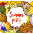 banner of summertime vacation attributes with vector image vector image