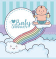 bashower little boy with rattle playing rainbow vector image