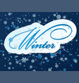 blue background with snowflakes in a cold winter vector image vector image