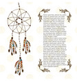 boho dream catcher in ethnic style design vector image