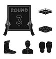 boxing extreme sports black icons in set vector image