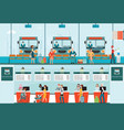 bus terminal with bus limousine with people vector image