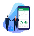 business man hand shake with big smart phone shows vector image