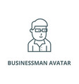 businessman avatar with glasses line icon vector image