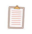 cartoon note paper blank with clip board vector image