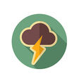 Cloud Lightning retro flat icon Weather vector image