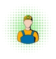 Coal miner icon comics style vector image vector image
