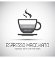 Cup of espresso macchiato simple icons vector image