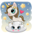 cute unicorn a on the cloud vector image