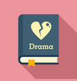 drama literary genre book icon flat style vector image vector image