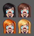 emotion icons crying female vector image vector image