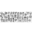 female hairstyle hand drawn doodle set vector image