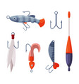 fishing lures set artificial plastic accessories vector image
