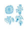flower leaf design template linear vector image