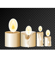 four candles with light on black background vector image vector image