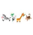 funny animals set giraffe panda monkey and zebra vector image