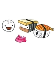 Funny cartoon little sushi communicate with each vector image vector image
