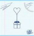 gift with balloon in shape heart line sketch vector image vector image
