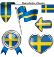 Glossy icons with Swedish flag vector image