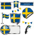 Glossy icons with Swedish flag vector image vector image