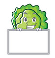 grinning with board lettuce character cartoon vector image vector image
