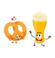 happy aluminium beer glass and pretzel characters vector image vector image