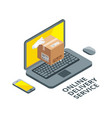 isometric concept picture of online delivery real vector image