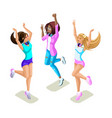 isometrics teenagers jumping generation z tough vector image vector image