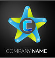letter c logo symbol in the colorful star on black vector image