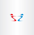letter s and z people holding hand logo vector image vector image