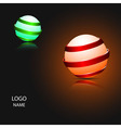 Logo banner of Metal ribbon around light sphere vector image