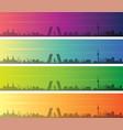 madrid multiple color gradient skyline banner vector image vector image