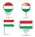 Map pins with flag of Hungary vector image vector image