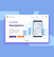 mobile navigation landing page smartphone with vector image