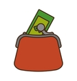 money wallet with bills isolated icon vector image vector image