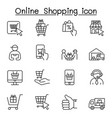 online shopping icons set in thin line style vector image
