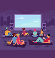 open air cinema movie people in park at night vector image