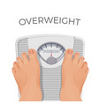 overweight human with fat feet on scales isolated vector image vector image