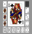 playing cards of clubs suit and back on green vector image