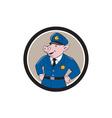 Policeman Pig Sheriff Circle Cartoon vector image vector image