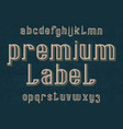 premium label typeface retro font isolated vector image