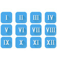 roman numerals blue icons with white numbers vector image