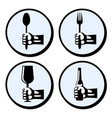set crockery and cutlery vector image vector image