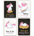 set of cards with cartoon unicorns and lettering vector image