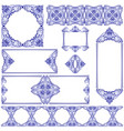 set of frames and lines blue and white design vector image vector image